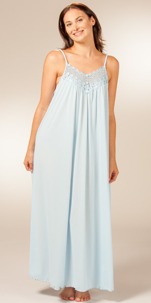long length shadowline beloved sleeveless nightgown   soft blue