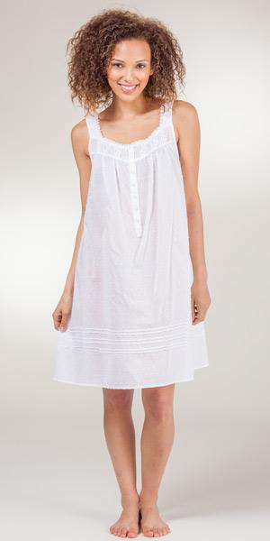 White Cotton Nightgown Short Eileen West Sleeveless