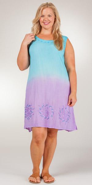 Sleeveless Beach Dresses By Raya Sun Ombre Crinkle Beach